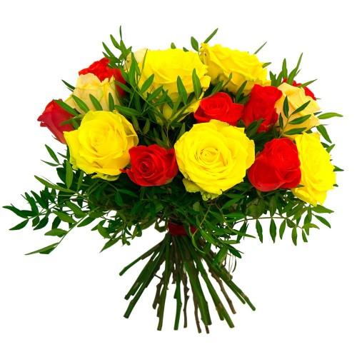 Букет 19 роз с зеленью